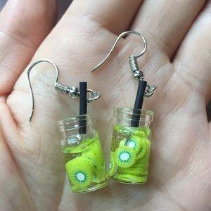 Kiwi cocktail drink earrings